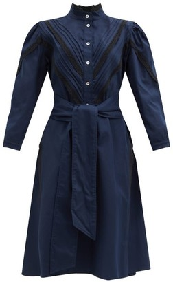 ÀCHEVAL PAMPA Yegua Cotton-blend Crepe Shirt Dress - Navy