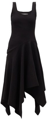 Marques Almeida Asymmetric-hem Ribbed Cotton-blend Dress - Black