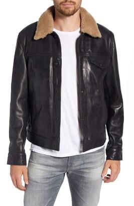 Schott NYC Vintage Buffalo Leather Trucker Jacket with Genuine Sheepskin Collar