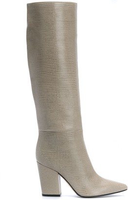 Sergio Rossi Point Toe Lizard-Effect Boots