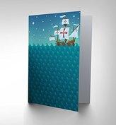 New Kids Children Pirates Illustration Sea Night Blank Birthday Card Cp065