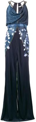 Versace embellished floral long dress