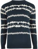River Island Dark Blue Aztec Tie Dye Jumper