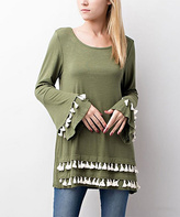 Jane Olive Tassel-Trim Bell-Sleeve Top