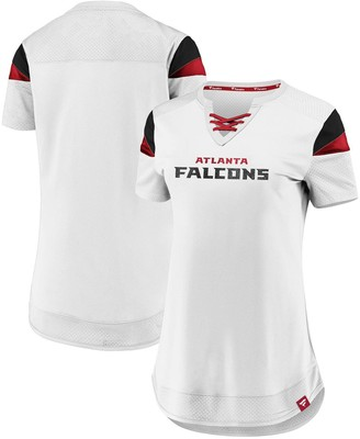 Women's Fanatics Branded White Atlanta Falcons Draft Me Lace-Up T-Shirt