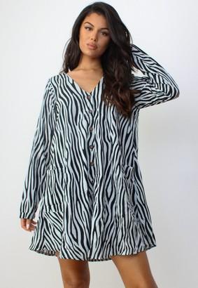 Missguided Khaki Zebra Print Button Through Smock Dress