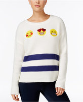 Hooked Up by IOT Juniors' Emoji Patch Sweater