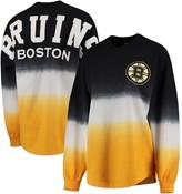Women's Fanatics Branded Black/Gold Boston Bruins Ombre Spirit Jersey Long Sleeve Oversized T-Shirt