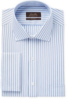 Tasso Elba Men's Classic-Fit Non-Iron Blue Texture Stripe Dress Shirt, Only at Macy's