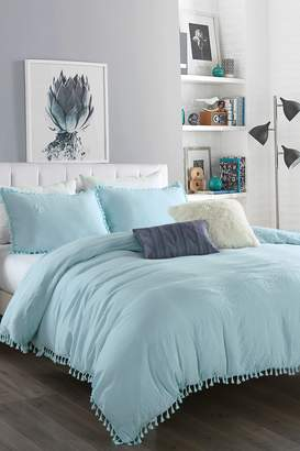 California Design Den Twin/Twin XL Relaxed Fringes Washed Comforter Set - Spa