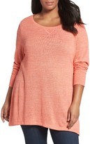 Sejour Plus Size Women's Heathered Knit Tunic