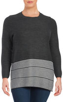 Lord & Taylor Plus Striped Knit Tunic Sweater