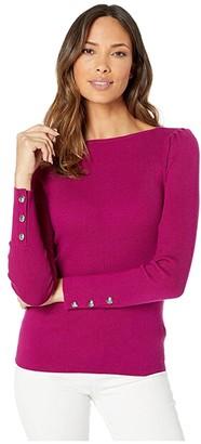 Lauren Ralph Lauren Puff-Sleeve Boat Neck Sweater