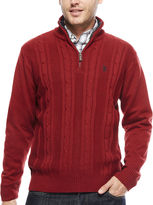 USPA U.S. Polo Assn. Long-Sleeve Cableknit Quarter-Zip Sweater