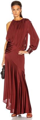 Sies Marjan Gia Fluid Satin Jersey Draped Evening Gown in Bordeaux | FWRD