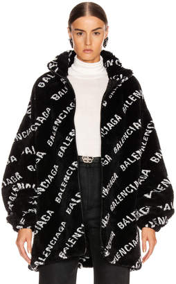 Balenciaga Fluffy Logo Zip Up Jacket in Black & White | FWRD
