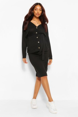 boohoo Maternity Knitted Rib Sweater And Skirt Co-Ord