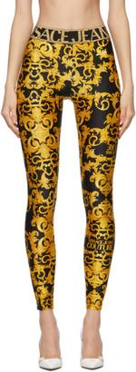 Versace Jeans Couture Black Baroque Logo Leggings