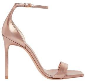 Saint Laurent Coated Metallic Leather Sandals