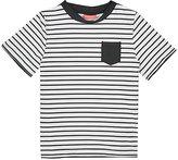 Sunuva Striped Short-Sleeve Rash Guard-WHITE, NAVY