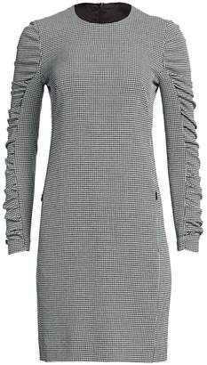 Akris Punto Houndstooth-Print Ruched-Sleeve Sheath Dress