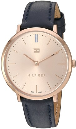 Tommy Hilfiger Women's Sophisticated Sport Stainless Steel Quartz Watch with Leather Calfskin Strap Blue 15 (Model: 1781693)