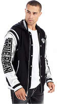 True Religion Hooded Silver Metallic Mens Varsity Jacket