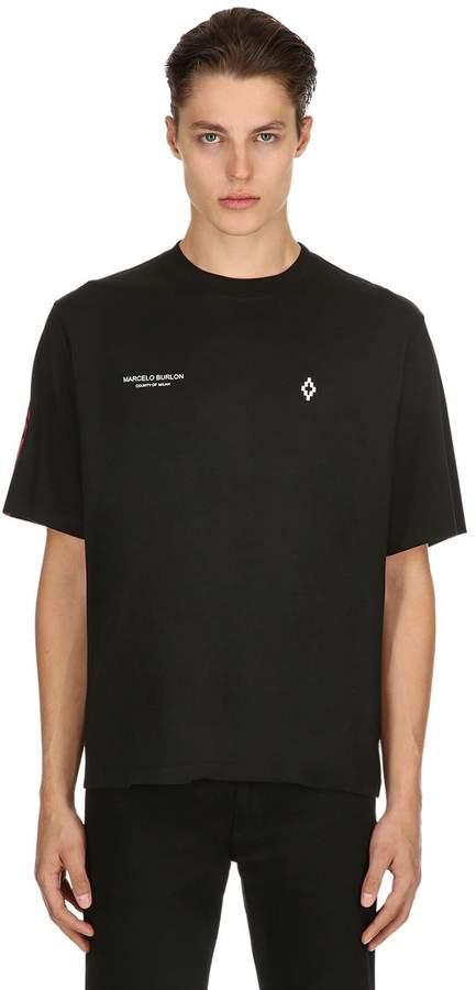 Marcelo Burlon County of Milan Barcode Wings Cotton Jersey T-Shirt
