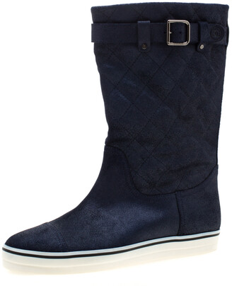 Chanel Blue Textured Quilted Leather Mid Calf Boots Size 38