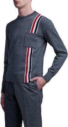 Thom Browne Men's Intarsia Knit Sweater w/ Vertical Stripes