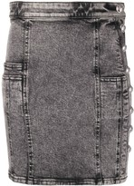 Balmain button-embellished denim mini skirt