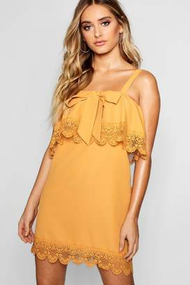 boohoo Layered Square Neck Lace Shift Dress