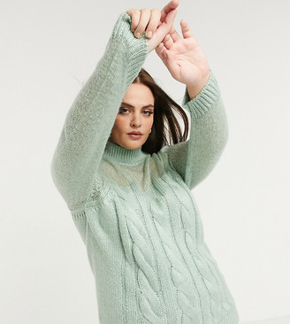 Fashion Union Plus jumper in chunky cable knit with sheer panel