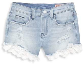 Blank NYC Girl's Lace-Trim Denim Cutoff Shorts
