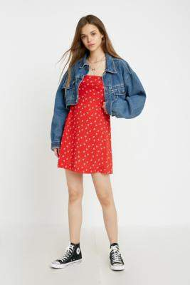 Free People Wild Child Red Printed Mini Dress - red S at Urban Outfitters