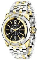 Glam Rock Women's summerTime 40mm Gold Plated Bracelet & Case Swiss Quartz Black Dial Analog Watch GR40054