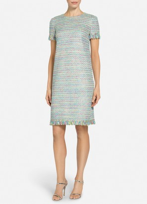 St. John Party Confetti Knit Short Sleeve Dress