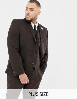 Gianni Feraud Plus slim fit brown donnegal wool blend suit jacket