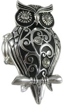 Moa Chrome Finish Rhinestone Accented Owl Stretch Ring