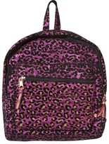 Le Big Pink Glitter Flocked Leopard Print Backpack