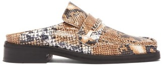 Martine Rose Python-embossed Leather Backless Loafers - Womens - White Multi