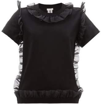 Noir Kei Ninomiya Organza Ruffle-trim Cotton T-shirt - Womens - Black
