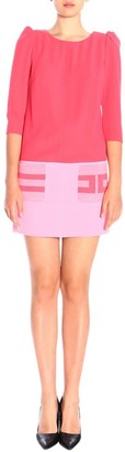 Elisabetta Franchi Celyn B. Dress Bicolor Dress With Logo Maxi Pockets
