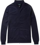 Incotex Merino Wool Zip-up Cardigan - Midnight blue