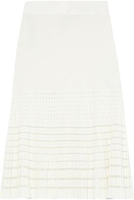 Herve Leger Mesh-trimmed Bandage And Ribbed Pointelle-knit Skirt
