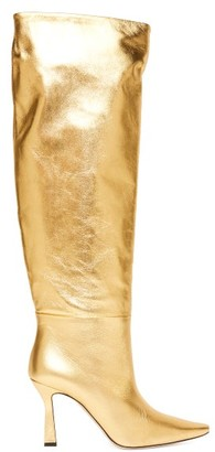 Wandler Lina Point-toe Knee-high Leather Boots - Gold