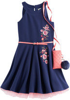 Knitworks Knit Works Girls 7-16 Knit Works Embroidered Textured Skater Dress with Crossbody Purse