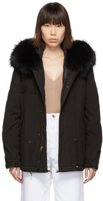 Mr & Mrs Italy Black Mini Fur Army Parka