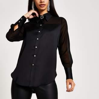 River Island Womens Black long sleeve sheer shirt