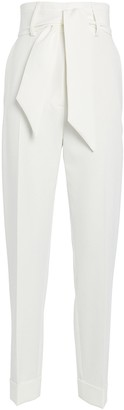 Sara Battaglia Belted High-Waist Crepe Pants